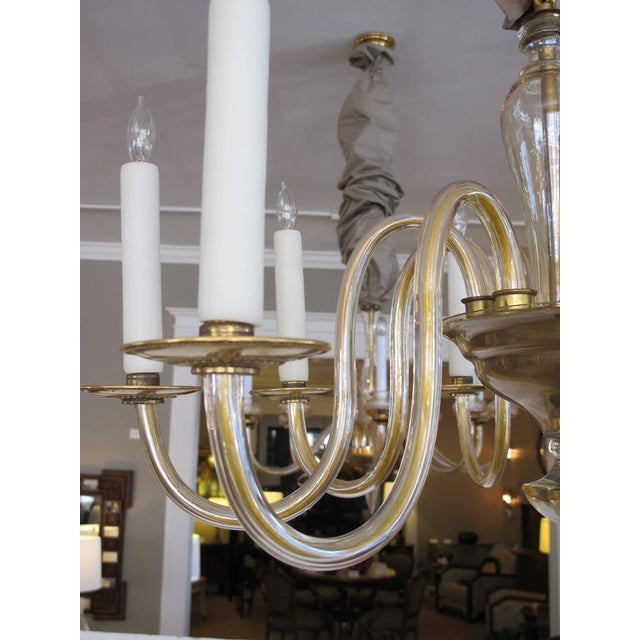 Shapely Murano 1950s Pale Gold Glass Eight-Light Chandelier - Image 4 of 5