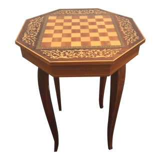 1970s Italian Marquetry Inlaid Wood Chess Game Table