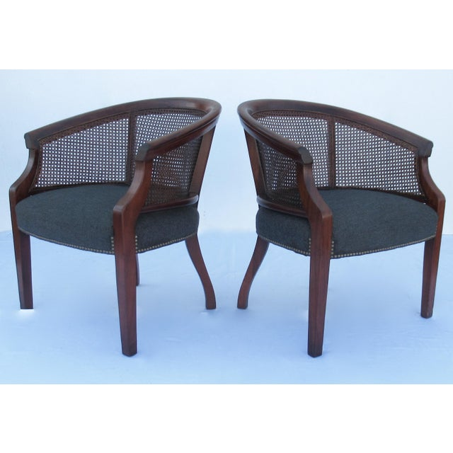 Vintage C.1968 Mahogany Barrel Back & Caned Arm Chairs With Brass Nail Heads - a Pair For Sale - Image 13 of 13