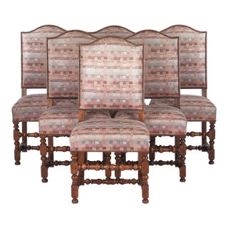 1920s Louis XIII Style Upholstered Walnut Chairs - Set of 6 For Sale