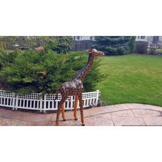 Handmade Paper Mache & Leather Giraffe Sculpture Preview