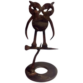 Brutalist Mid Century Owl Sculpture For Sale