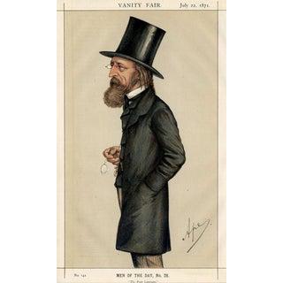 "1871 ""Alfred Tennyson"" Vanity Fair Portrait Lithograph Print For Sale"