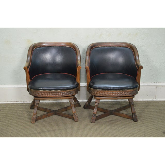 Romweber Viking Oak Set of 4 Swivel Club Chairs For Sale - Image 5 of 11