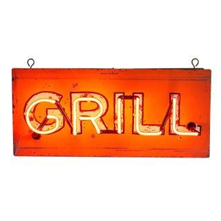 Petite Grill Sign W/ Bright Red Neon Circa 1940s