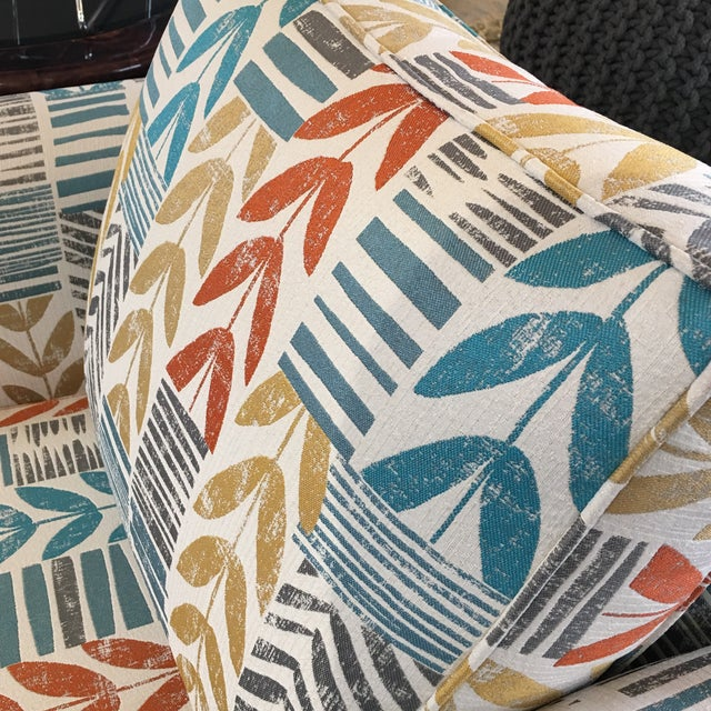 Custom Contemporary Leaf Motif Upholstered Arm Chair - Image 10 of 11