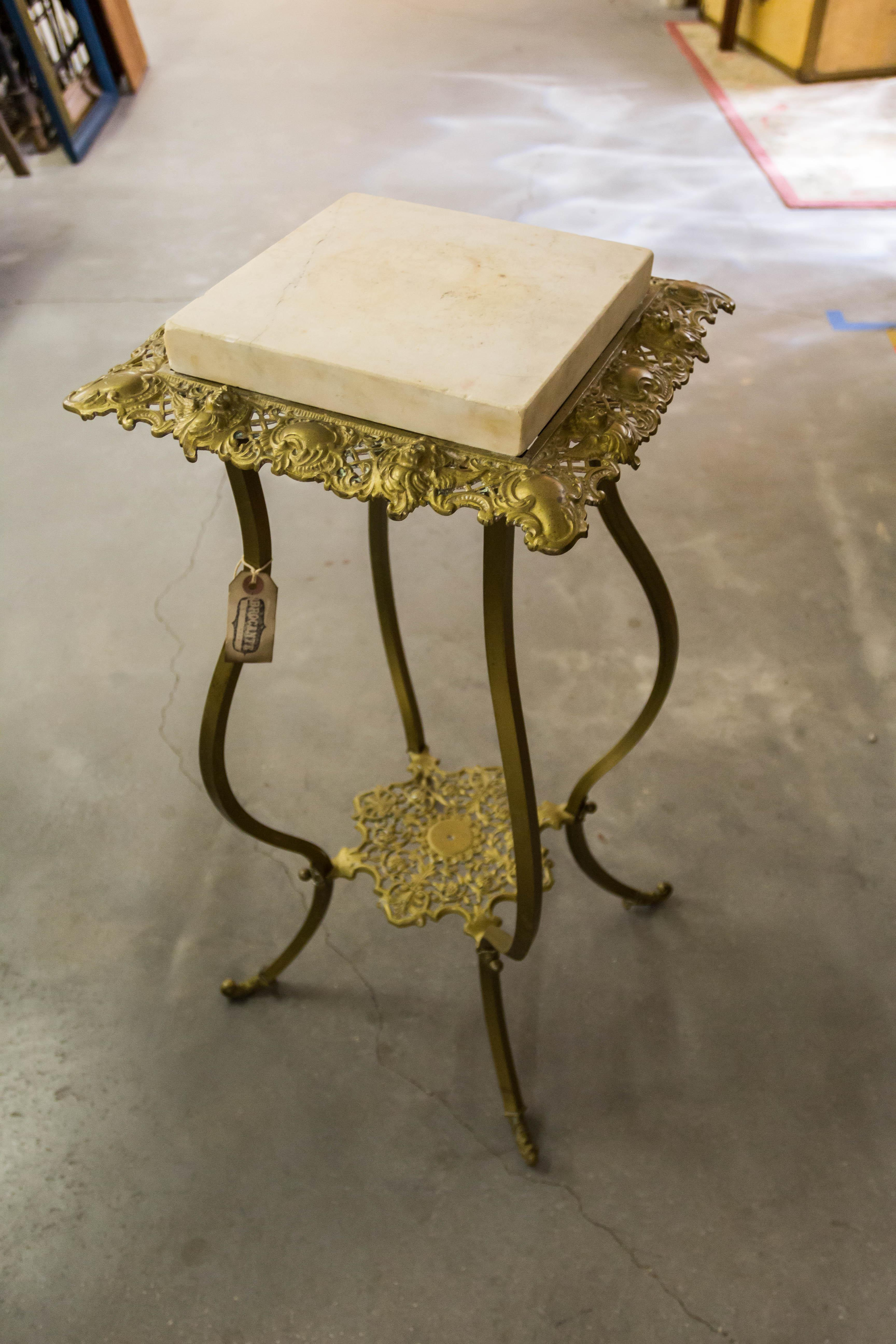 Vintage Brass Base Marble Top Side Table Victorian Era   Image 8 Of 8