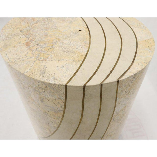 Large Cylinder Tessellated Stone Veneer Brass Inlay Dining Table Base Pedestal For Sale - Image 12 of 13