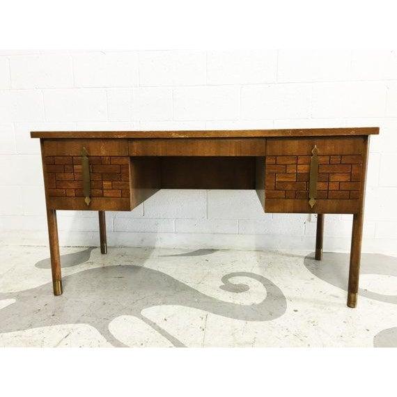 Mid-Century Modern Walnut Four Drawer Desk - Image 3 of 6