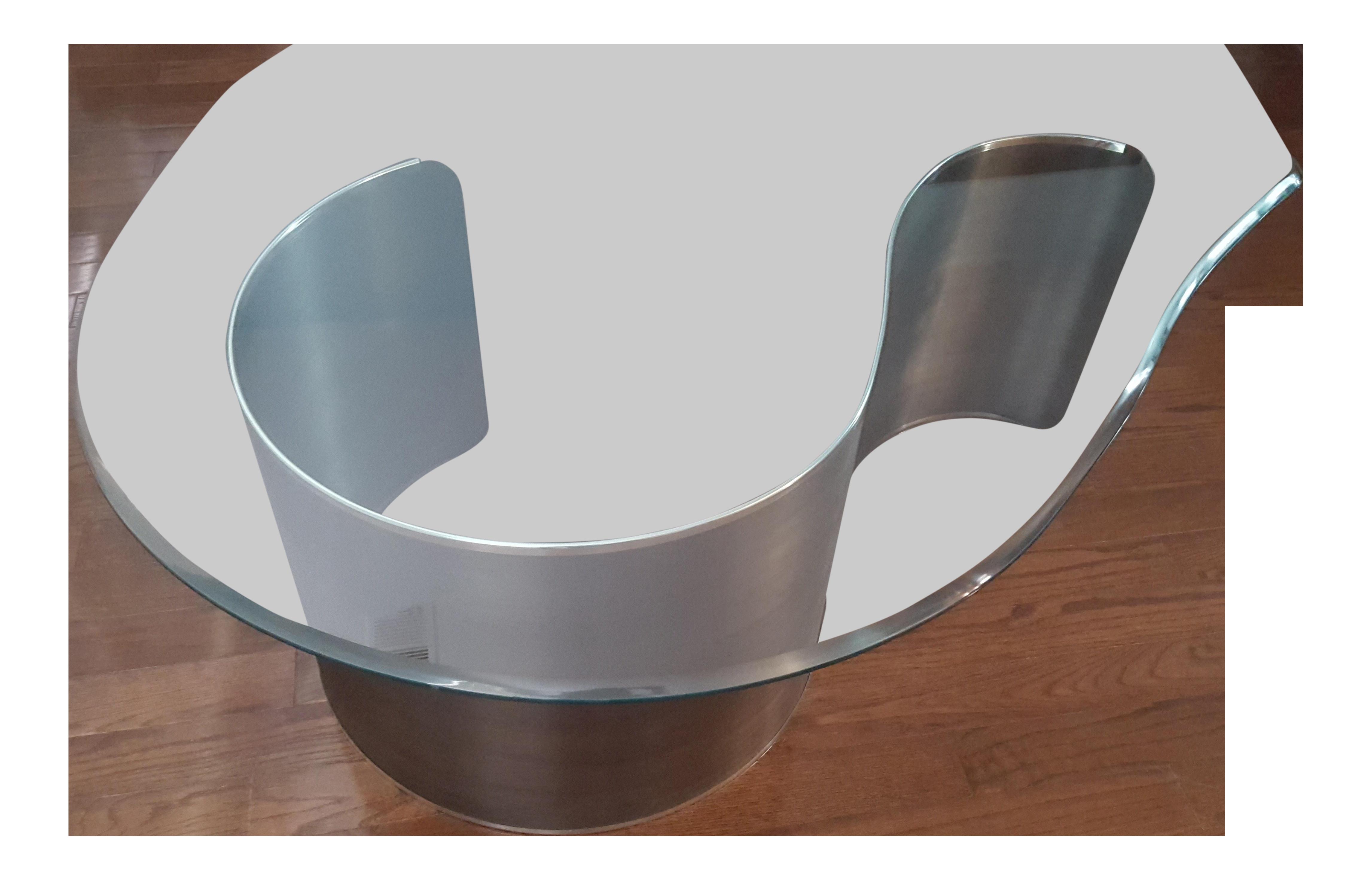 Kagan Style Mid Century Modern Glass Metal Biomorphic Coffee Table