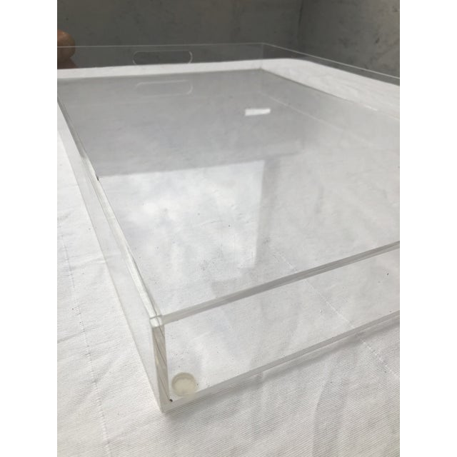 Modern Large Lucite Tray With Cutout Handles For Sale - Image 3 of 12