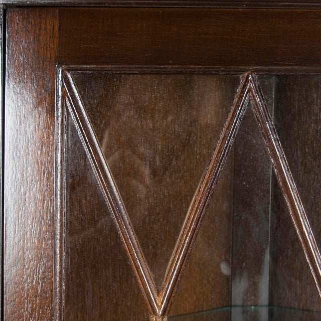 Brown 1960s Georgian Mahogany Narrow Bow Front Corner Cabinet Cupboard For Sale - Image 8 of 12