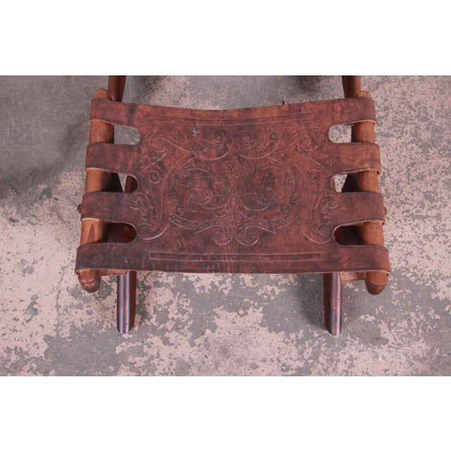 Angel Pazmino Teak and Leather Rocking Chair With Ottoman, Ecuador, 1960s For Sale - Image 10 of 12