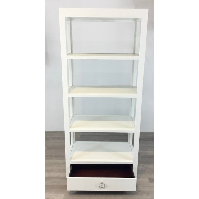 2010s Bungalow 5 Modern White Lacquer Grasscloth Camilla Etagere For Sale - Image 5 of 6