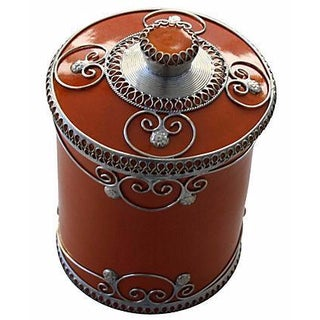 Orange Moroccan Ceramic Jar With Engravings For Sale
