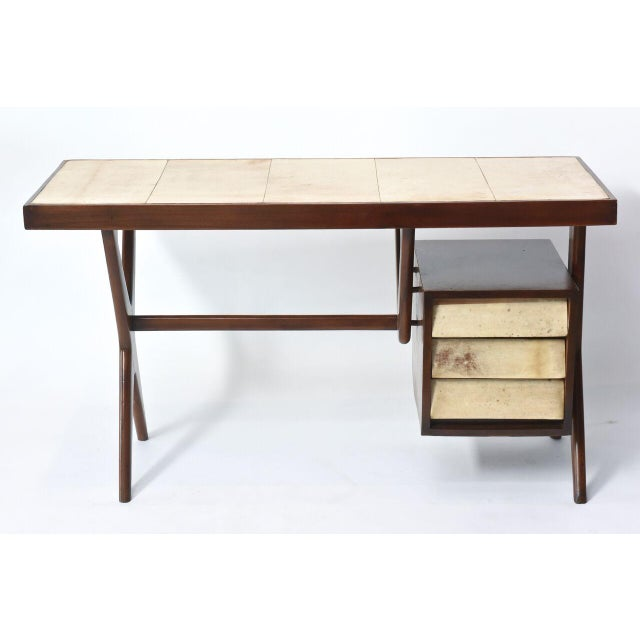 Modern Italia Modern Mahogany and Parchment Desk, Silvio Cavatorta For Sale - Image 3 of 10