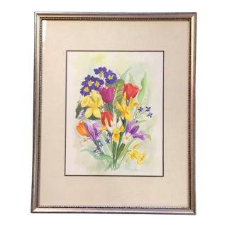Vintage Framed California Artist Helen Barker Watercolor Painting For Sale