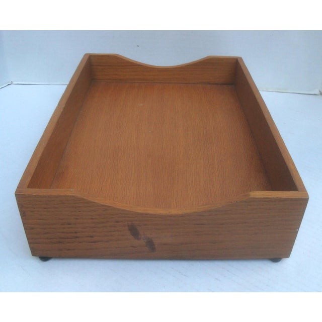 Office Desk Wood Letter and Mail Tray Basket For Sale - Image 4 of 7