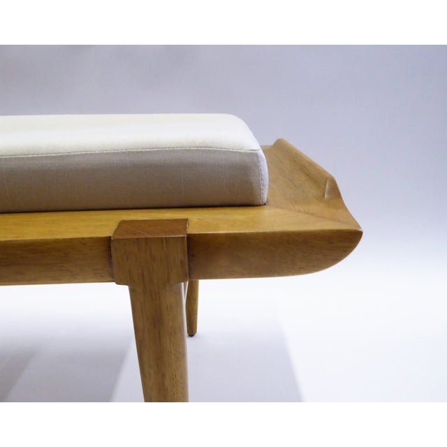 Linen 1950s Tomlinson's Sophisticates Line Mid-Century Modern Walnut Bench For Sale - Image 7 of 13