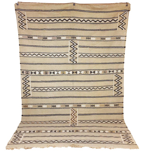 Neutral Moroccan Kilim Rug - 6′1″ × 7′8″ - Image 1 of 5