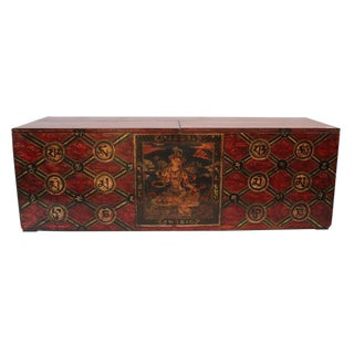 Mongolian Red Painted Wooden Trunk