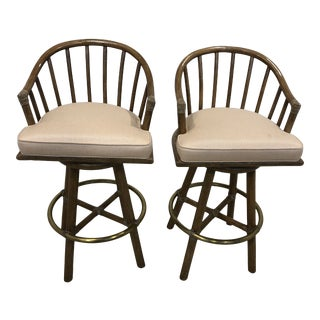 Late 20th Century Vintage McGuire Furniture Rattan Style Bar Stools - Pair For Sale