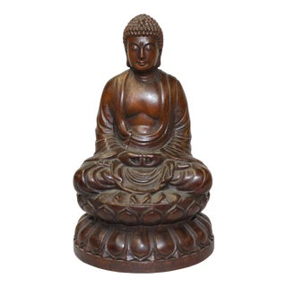 Chinese Brown Buddha Gautama Amitabha Wood Statue For Sale
