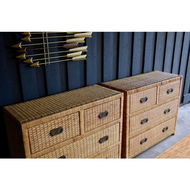 Lacquered Rattan Bachelor Chest (Pair Available) For Sale - Image 9 of 13