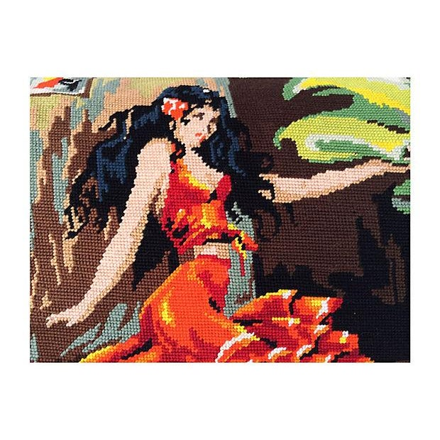 Mediterranean Flamenco Dancers Needlepoint Body Pillow For Sale - Image 3 of 6
