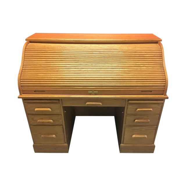 Solid Oak Roll-Top Desk With Keys - Image 1 of 10