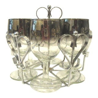 Dorothy Thorpe Silver Fade Wine Glasses with Metal Heart Caddy - 7 Piece Set For Sale