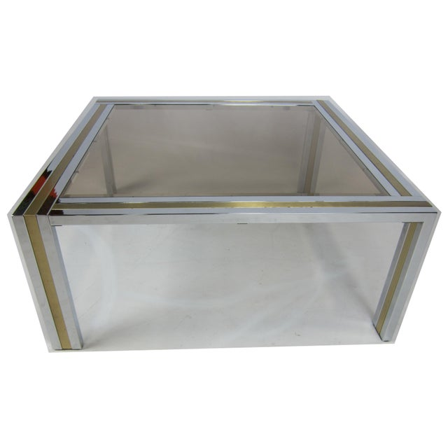 1970s Chrome and Brass Coffee Table attributed to Romeo Rega For Sale - Image 5 of 5