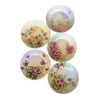 Antique Hand Painted Floral Porcelain Plates - Set of 5 For Sale