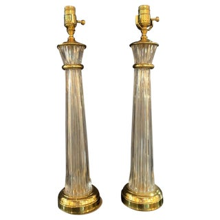 Pair of Waterford Hollywood Regency Style Column Form Table Lamps For Sale