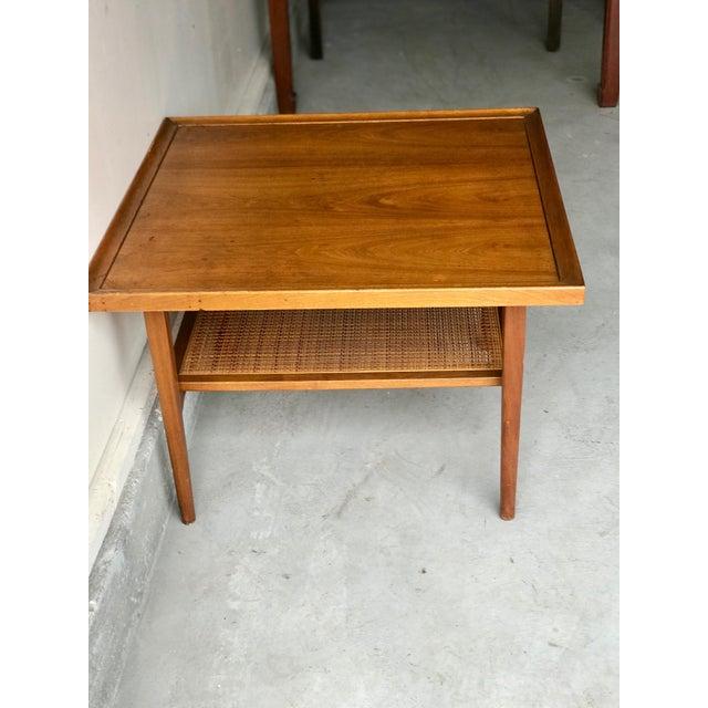 Drexel Heritage 1960s Vintage Drexel Side Table With Caned Shelf For Sale - Image 4 of 6