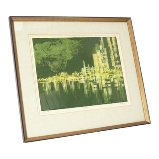 Vintage Painting of Nighttime Cityscape on Water