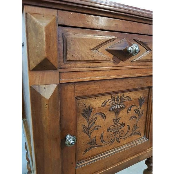 Antique French Vanity Armoire Barley Twist Stand Desk With Marble Top For Sale - Image 10 of 13