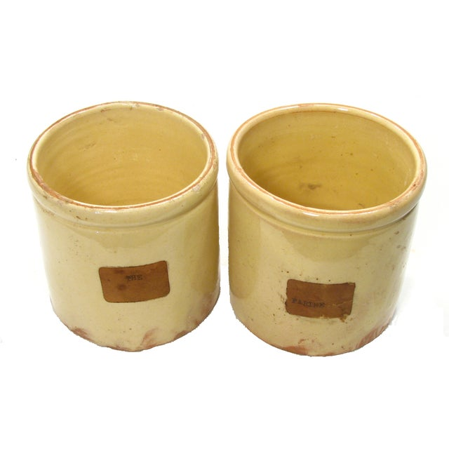 French Yellow Glazed Confiture Pots - A Pair - Image 2 of 4