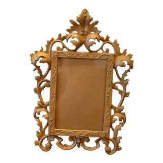 Vintage Cast Bronze Baroque Picture Frame For Sale
