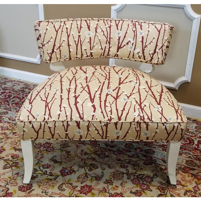 1950s Vintage Mid-Century Modern James Mont Upholstered Slipper Chairs - a Pair - Image 6 of 10