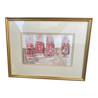 Framed Watercolor/Artist's Marker Mixed Media Canning Jars For Sale