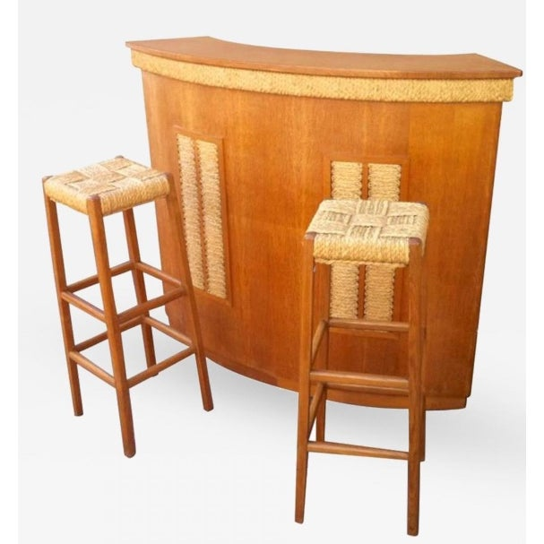 Audoux-Minet Riviera Rarest Rush and Oak Bar With Two Bar Stools For Sale - Image 6 of 6