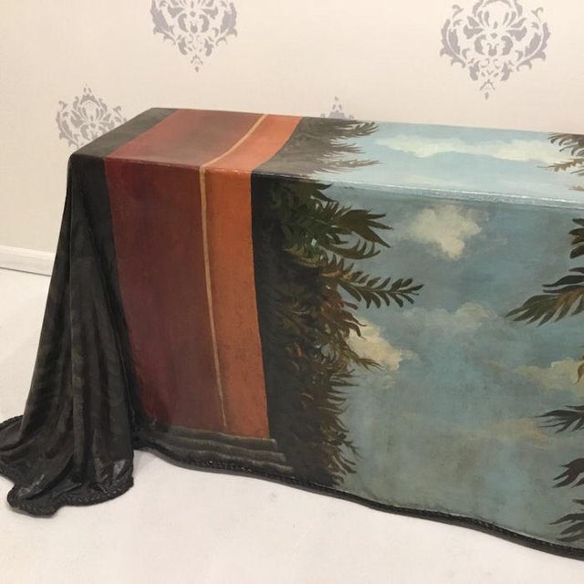 Fiberglass 1980s Realism Draped Leopard Painting Console Table For Sale - Image 7 of 11