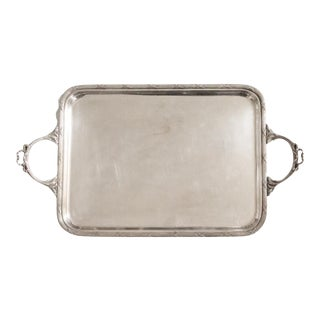 Late 19th Century Silver Rectangle Serving Tray with Ribbon Detail Handles For Sale