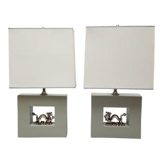 Custom Designer Silver Dragon Lamps - A Pair For Sale