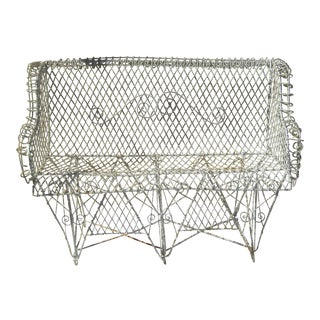 1940s Antique French Wire Garden Bench For Sale