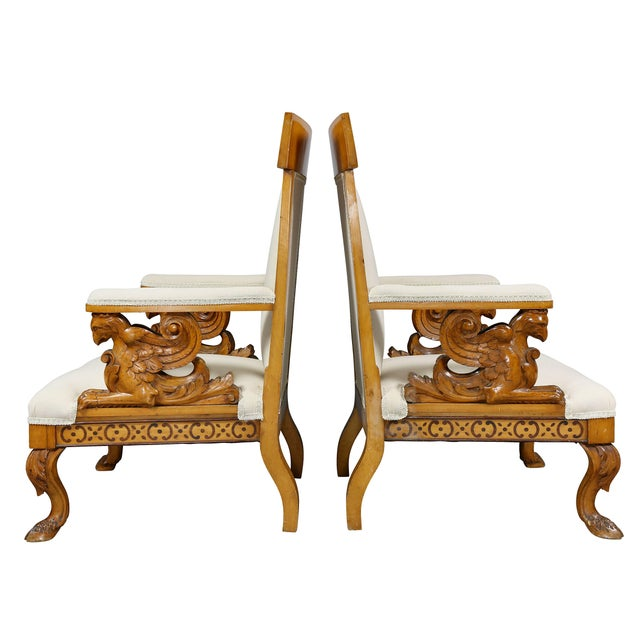 Pair of Italian Neoclassical Maple Armchairs Attributed Pelagio Palagi For Sale - Image 9 of 11