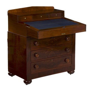 American Late Classical Antique Writing Desk on Chest of Drawers circa 19th Century