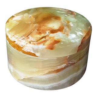 Light Green and Caramel Brown Onyx Marble Stone Stash Box / Jar For Sale