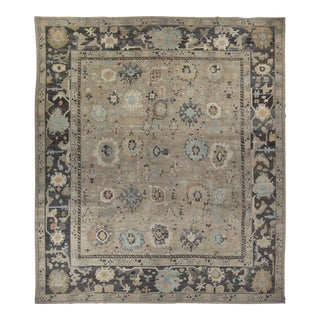 Turkish Oushak Rug With Blue & Brown Floral Details on Beige Field For Sale